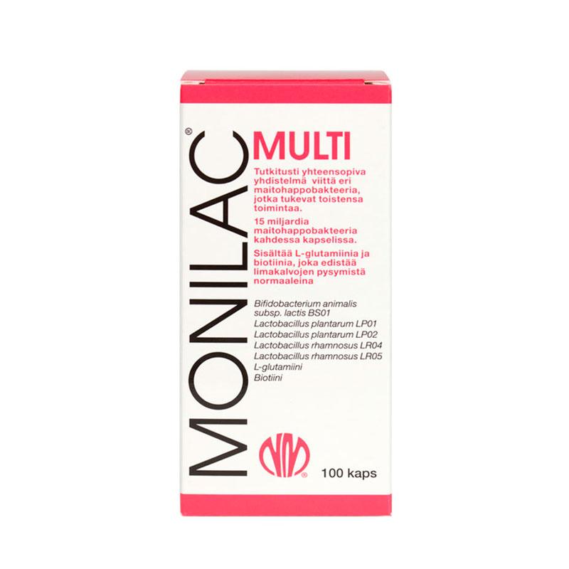 Natura Median MONILAC Multi maitohappobakteerin tuotekuva.