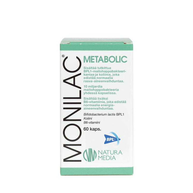 Natura Median MONILAC Metabolic maitohappobakteerin tuotekuva.