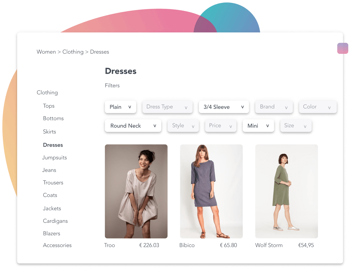 Online fashion store showing three dresses.