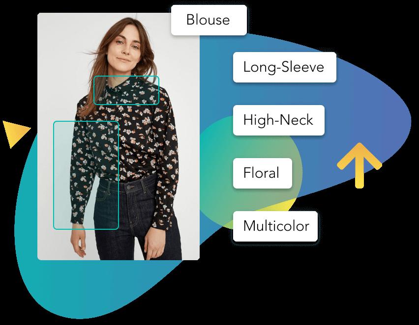 Automated descriptive tags for a floral blouse