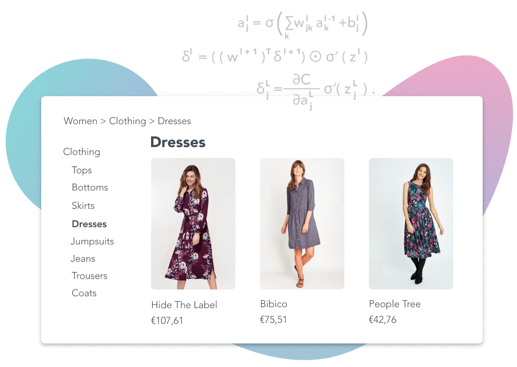 Listed dresses i na web shop with equations describing the background process that sorts them visually