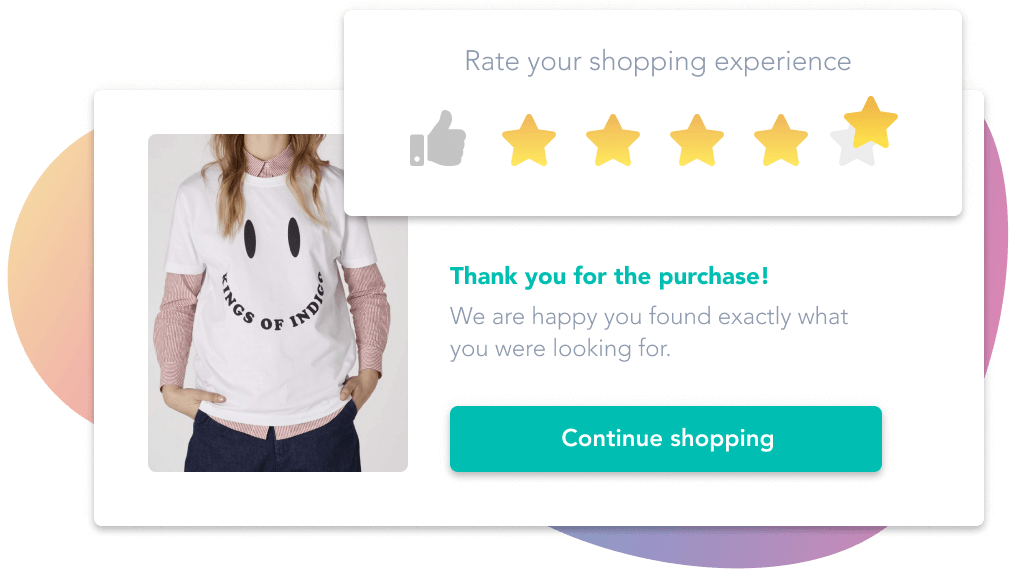 Customer giving five stars to the shopping experience using pixyle after buying the desired t-shirt.