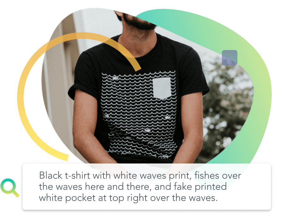 Black t-shirt with white waves print, fishes over the waves, and fake printed white pocket.