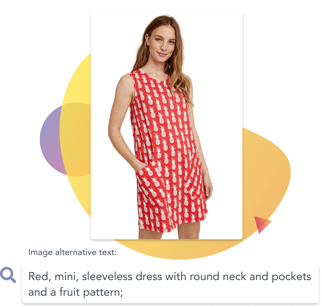 Girl wearing a red pineapple dress with its alternative text listed below the image
