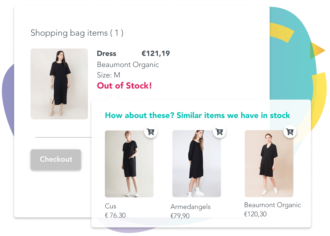 Black dresses given as a similar alternative to the one that is out of stock
