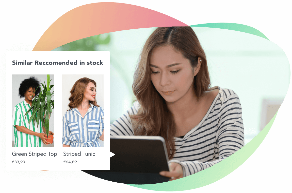 Girl with a striped shirt checking for similar shirts to buy.