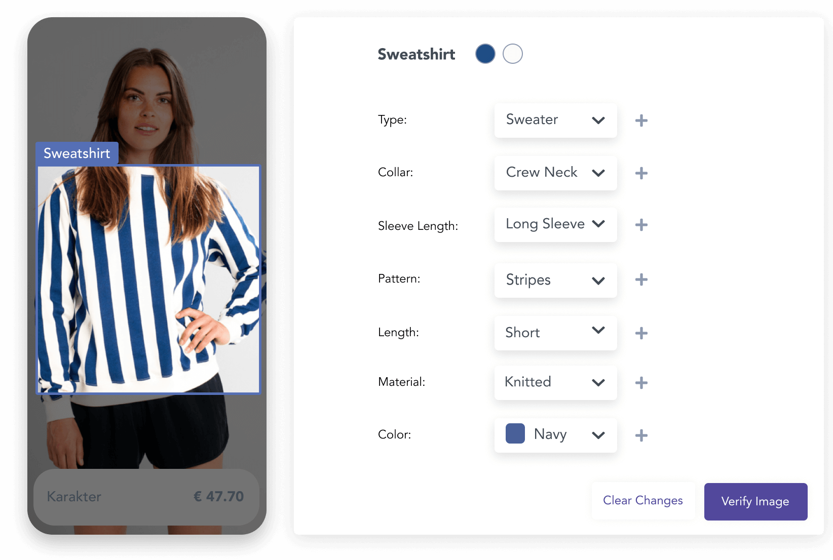 Catalog with accurate tags of the attributes detected on the image