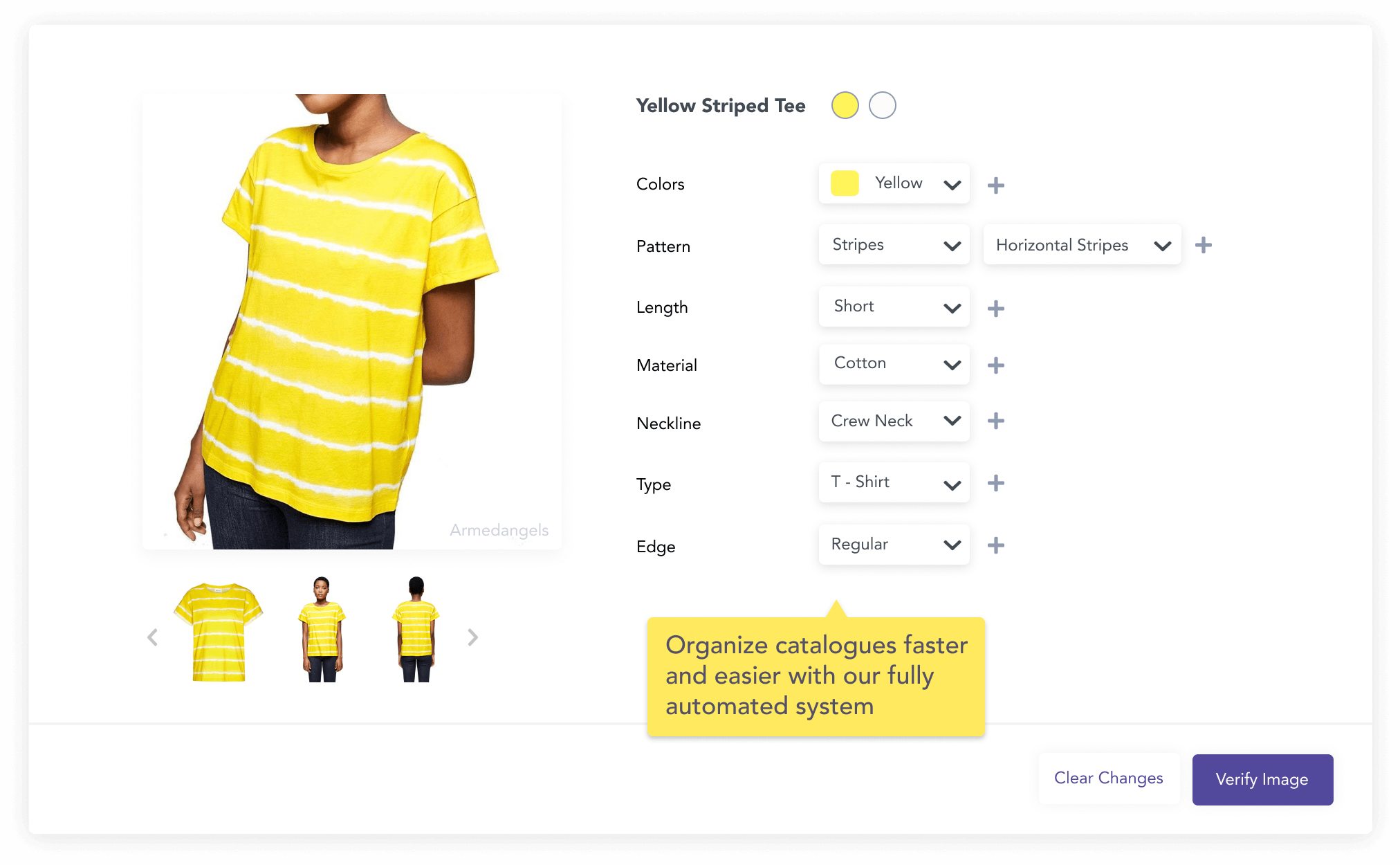 Yellow t-shirt automatically tagged