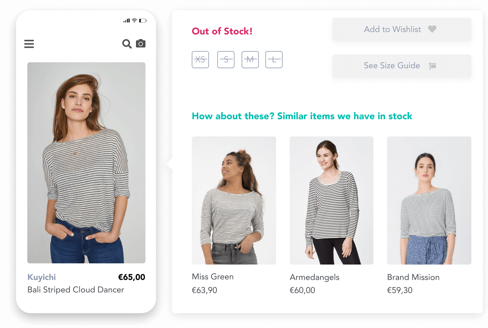 Pixyle giving accurate similar striped shirts as recommendation to the currently viewed one