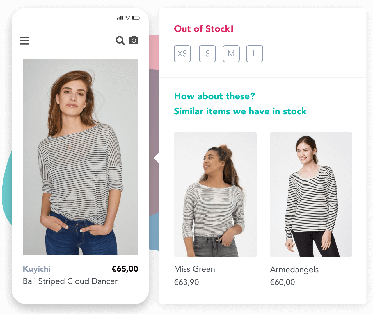 Similar Recommendations process for an out of stock striped shirt