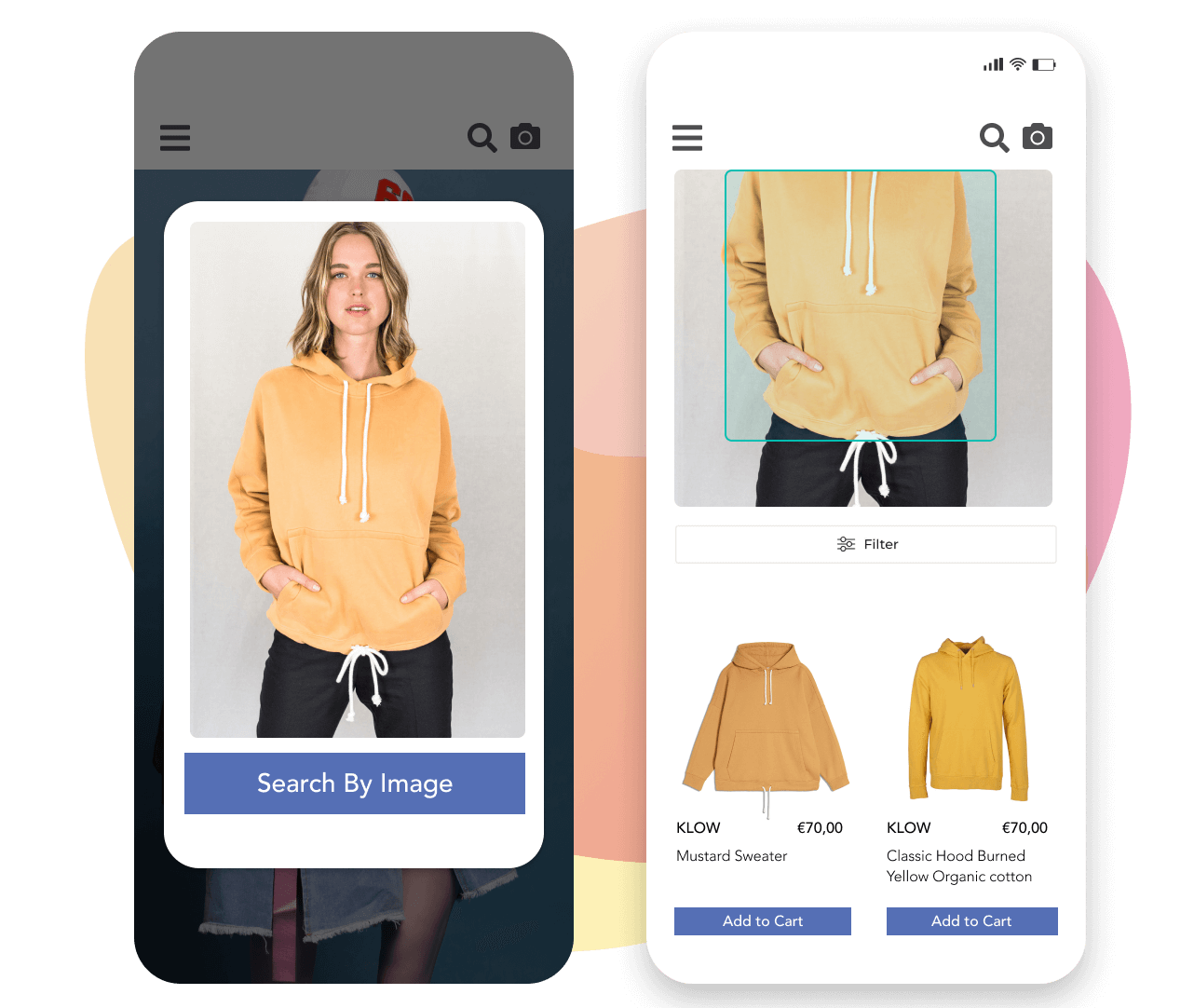 Process of visual search in three steps: image upload, image analysis, visually similar items.