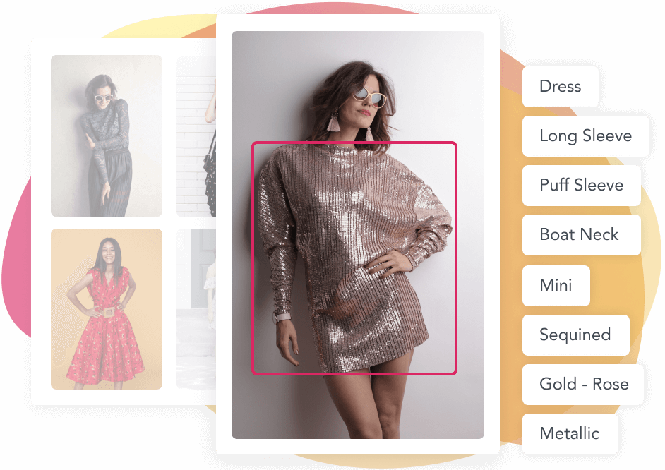 Tagged image of a girl wearing a gold-rose sequin dress
