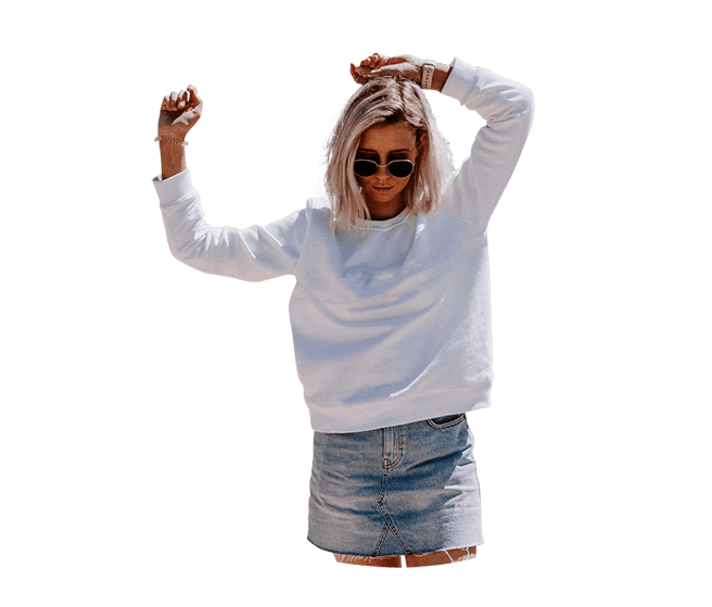 Blonde girl with sunglasses, dressed in white blouse and denim skirt.