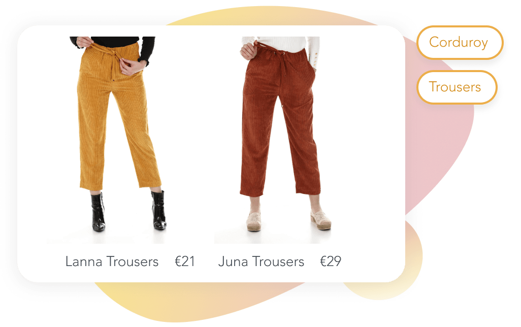 Image of two pairs of trousers organized by material and category