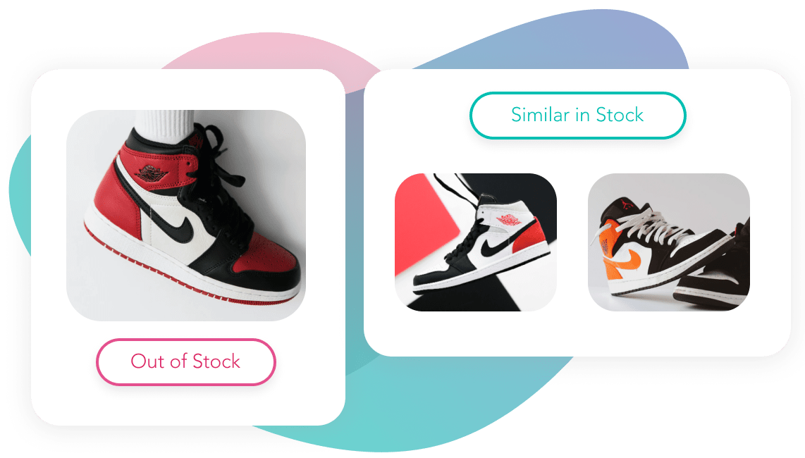 Out of stock Nike sneakers with two similar sneakers in stock