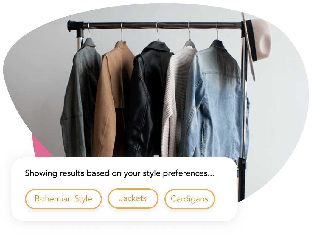 Image of a clothing rack with jackets based on users style preferences