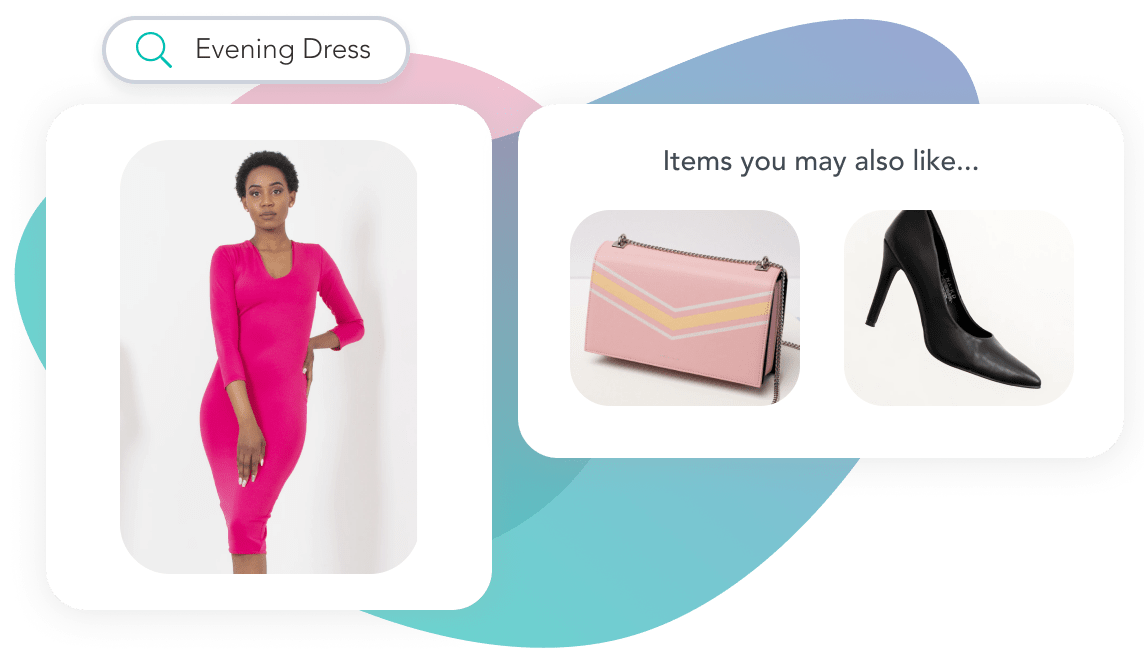 Girl wearing a pink evening dress with automated style suggestion for a bag and heels matching the style and occasion