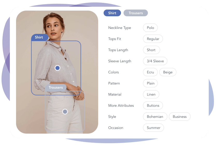 Image of a girl wearing shirt and trousers with automatically generated tags describing the fashion attributes.