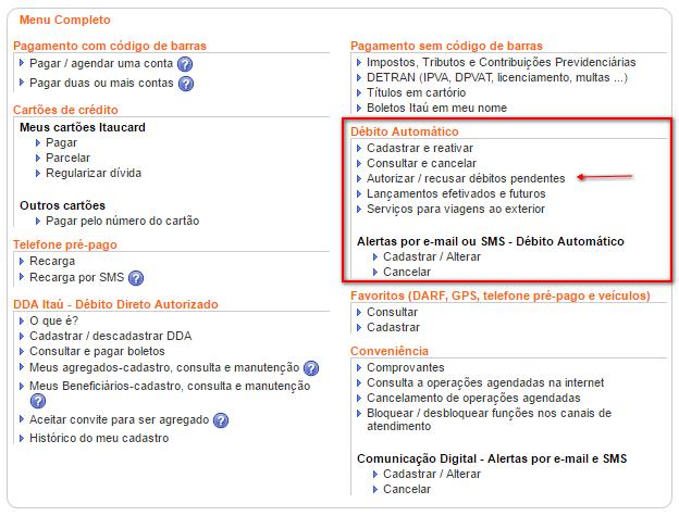 debito automatico internet banking itau 2