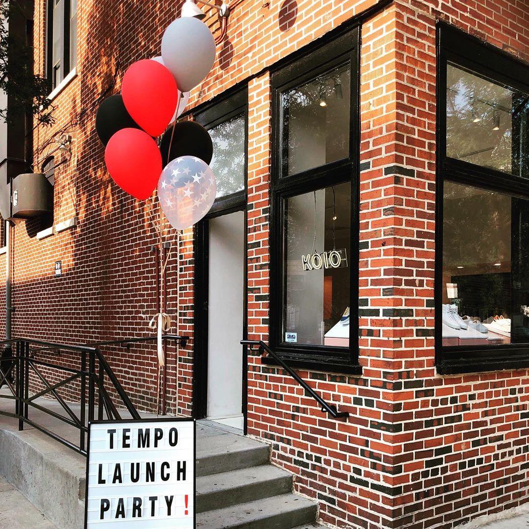 kio store facade with balloons