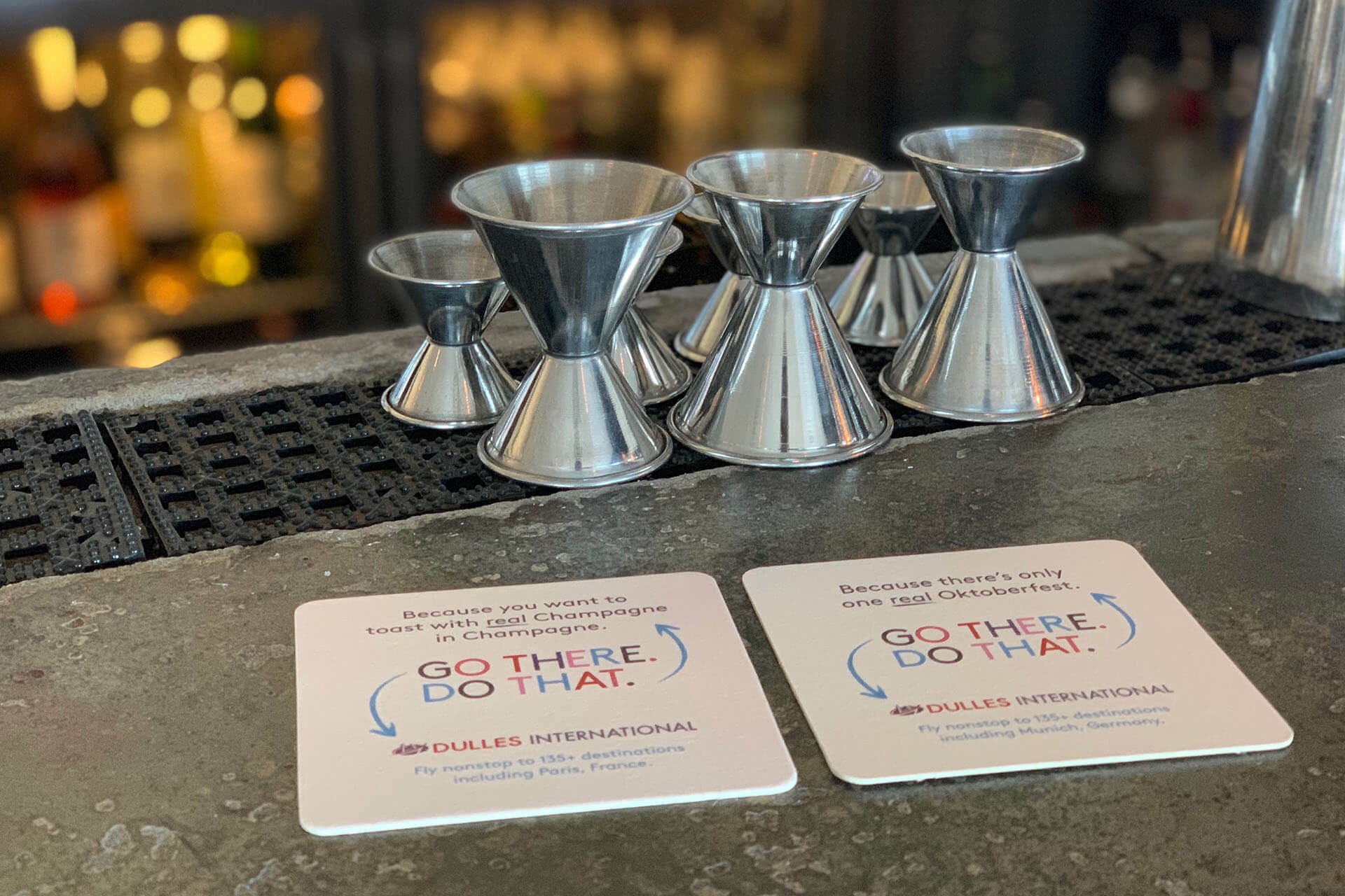 OOH advertising with coasters at bars or restaurants