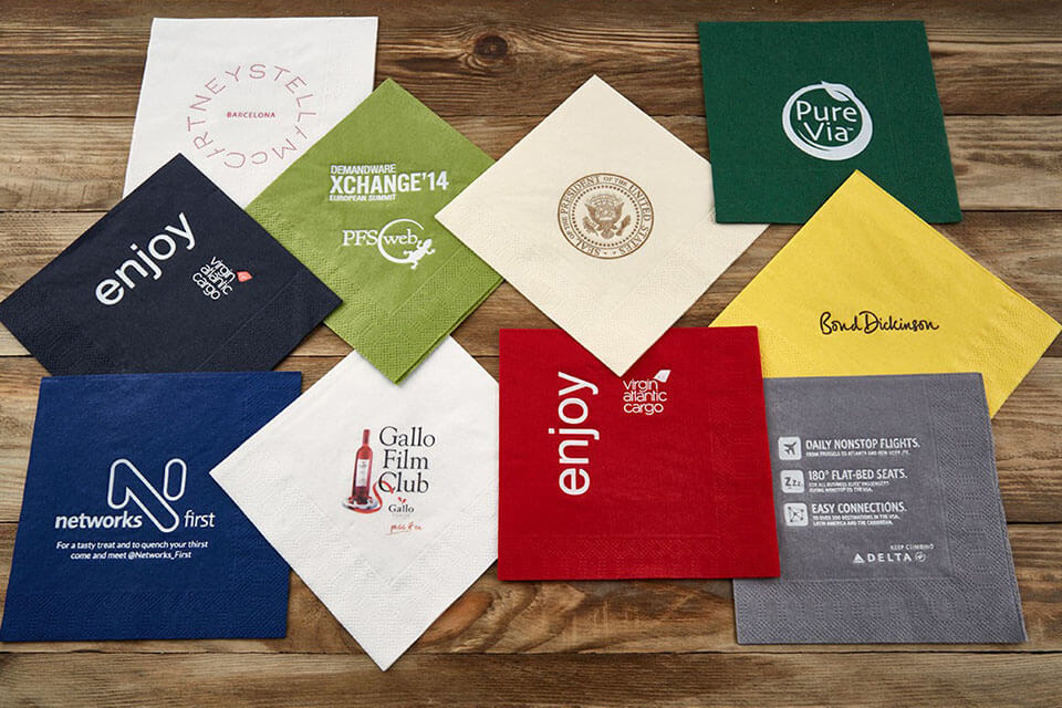 OOH advertising with napkins at bars or restaurants