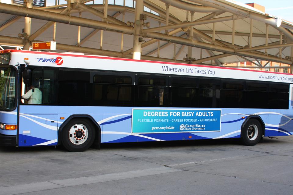 transit advertising with full bus wraps
