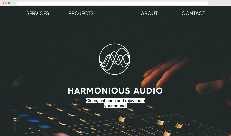 Harmonious Audio Homepage Desktop