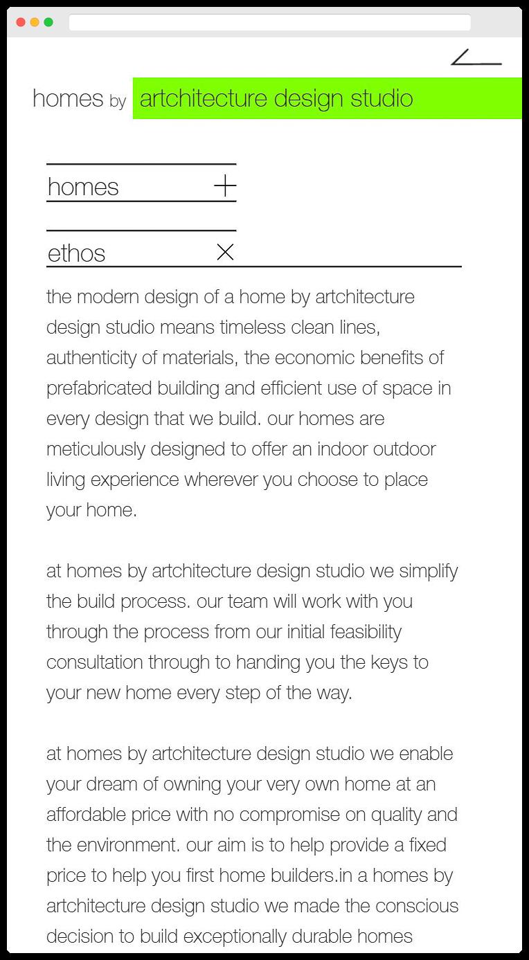 Artchitecture Design Studio Website Mobile