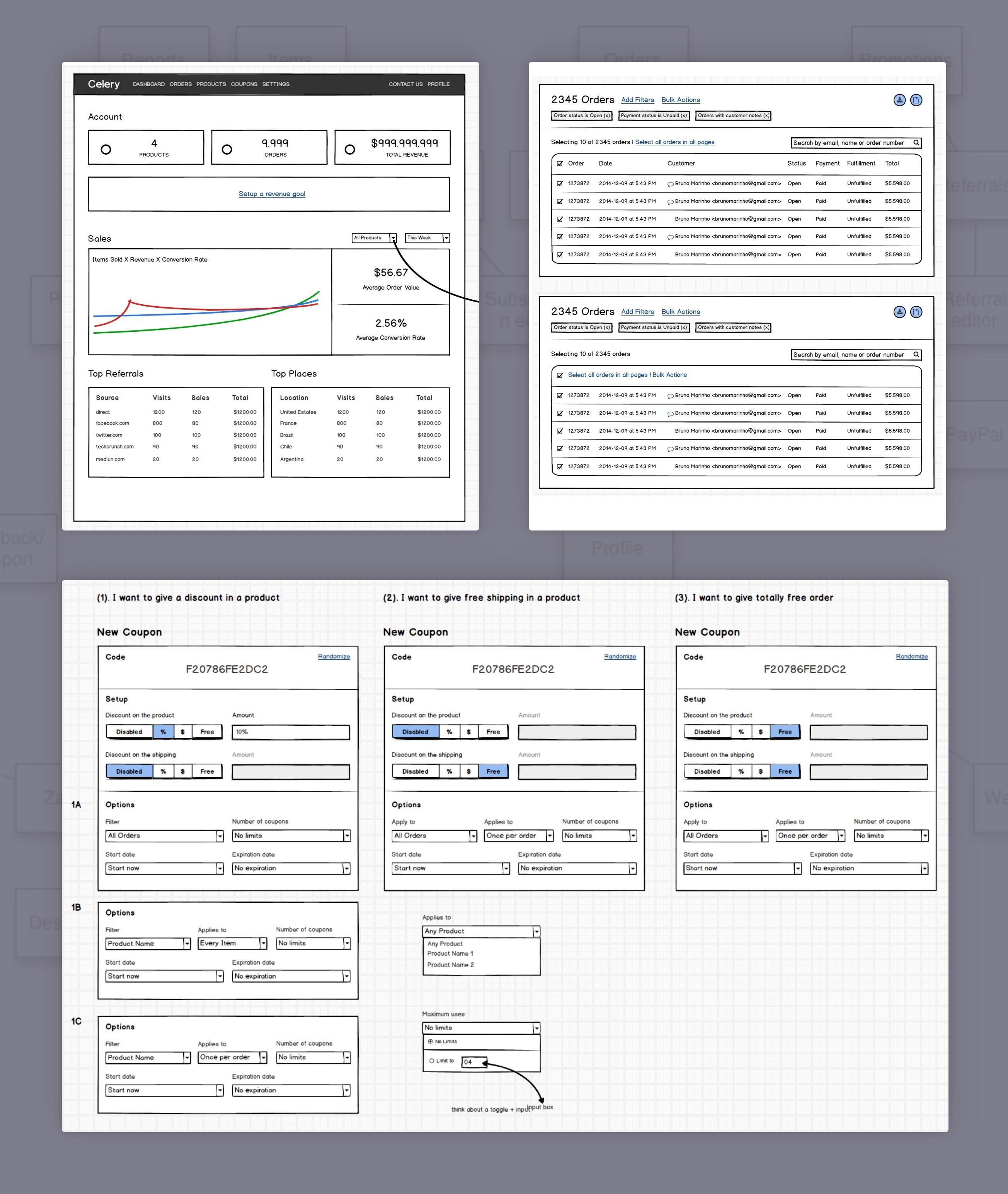Screenshot of Balsamiq wireframes