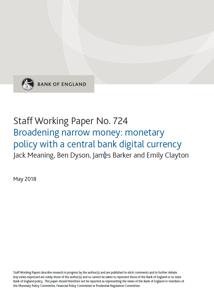 Broadening narrow money: monetary policy with a central bank digital currency
