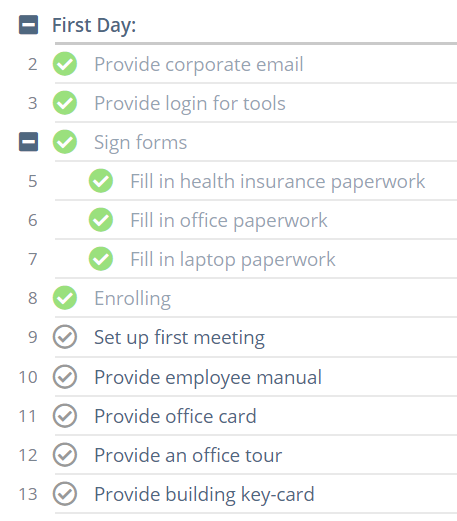 On-Boarding Process with Tasks
