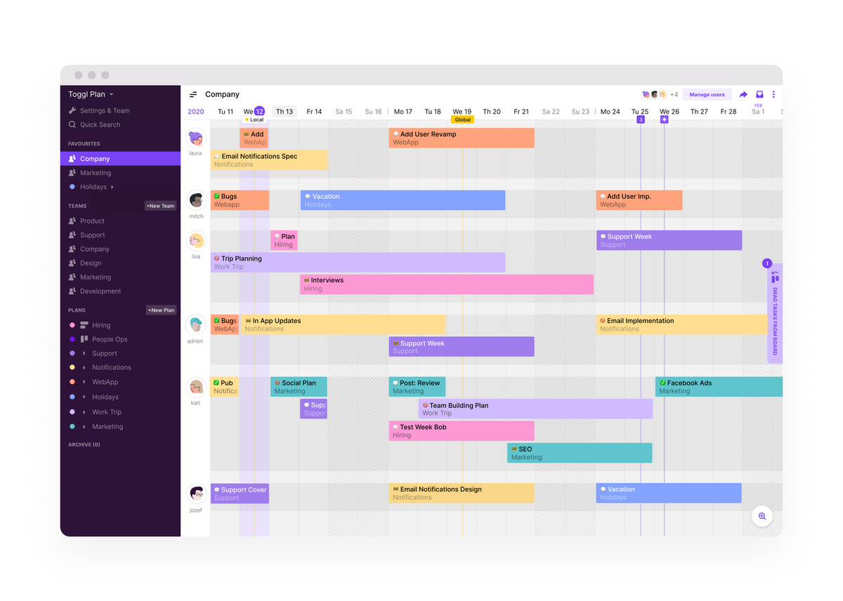 Toggl Plan Gantt Chart Example