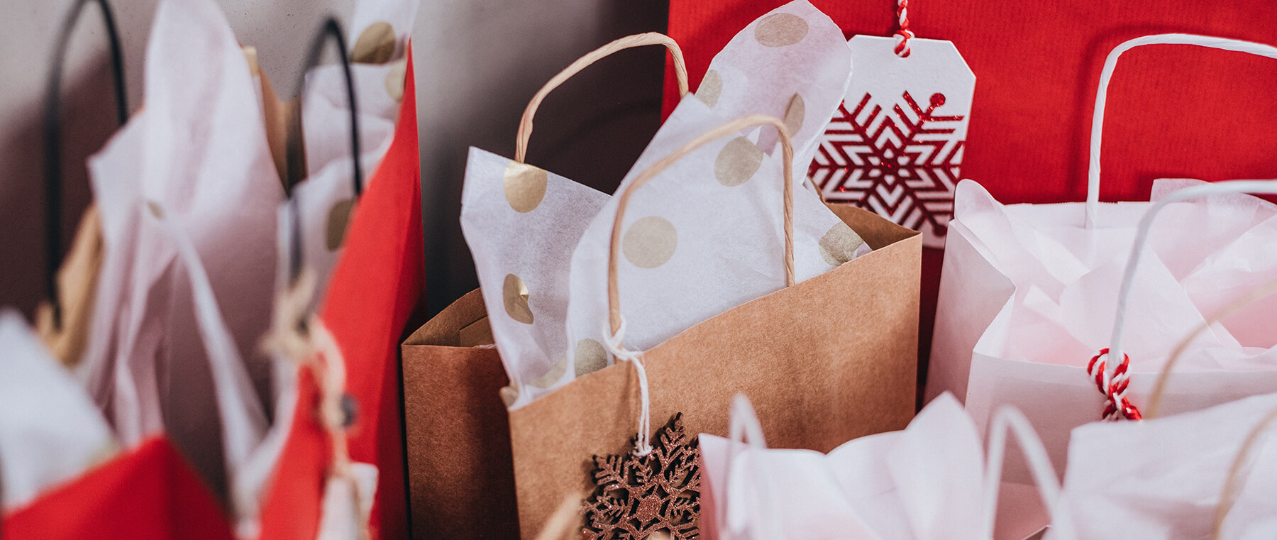 Bags with Christmas gifts and decorations