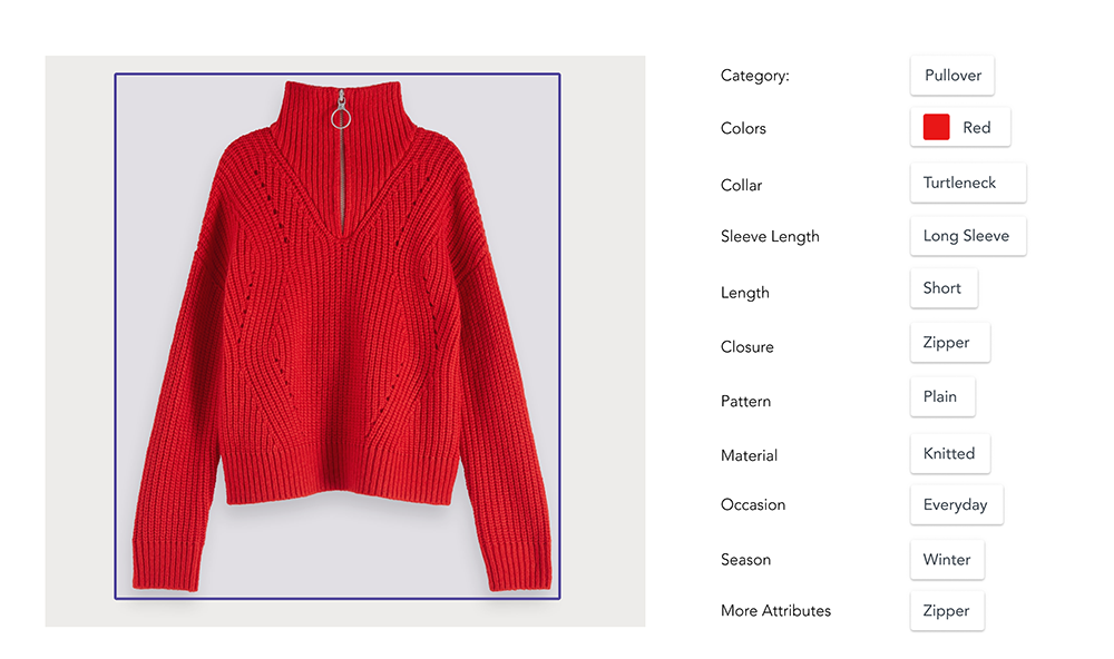 red sweater with attributes and tags