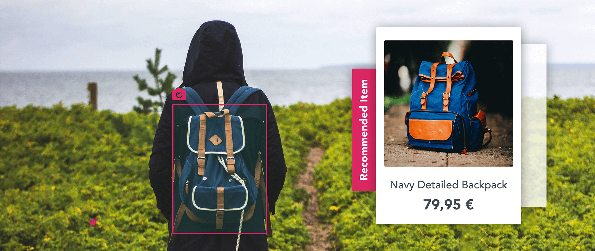 Recommended item for a visually similar backpack that a girl is wearing
