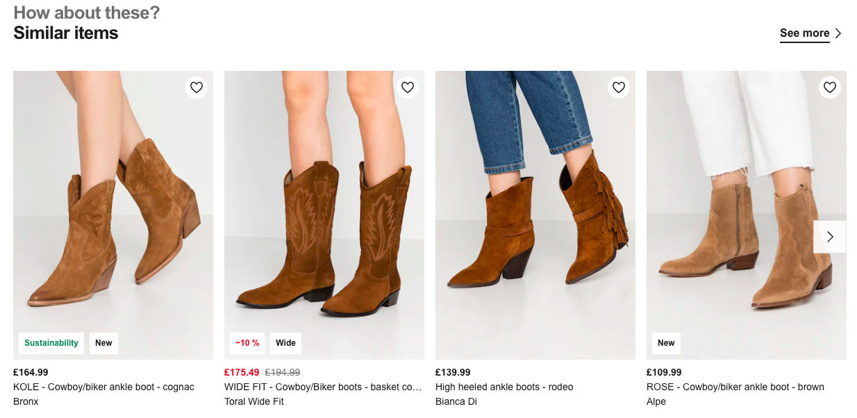 Similar recommendations for brown ankle boots