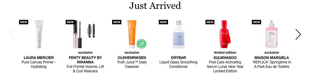 Newly available products in the stock