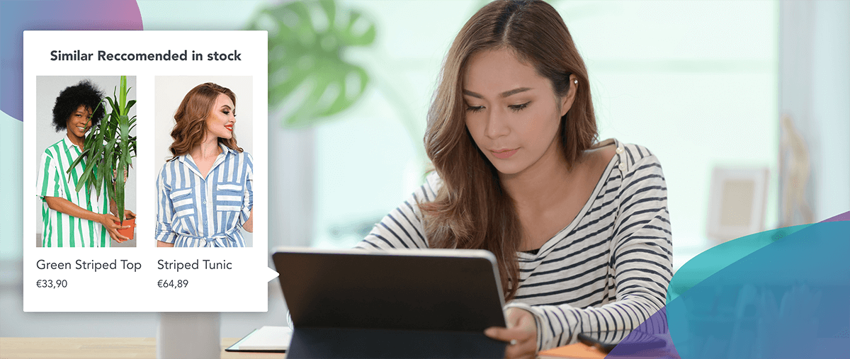 Girl with a striped shirt checking for similar shirts to buy