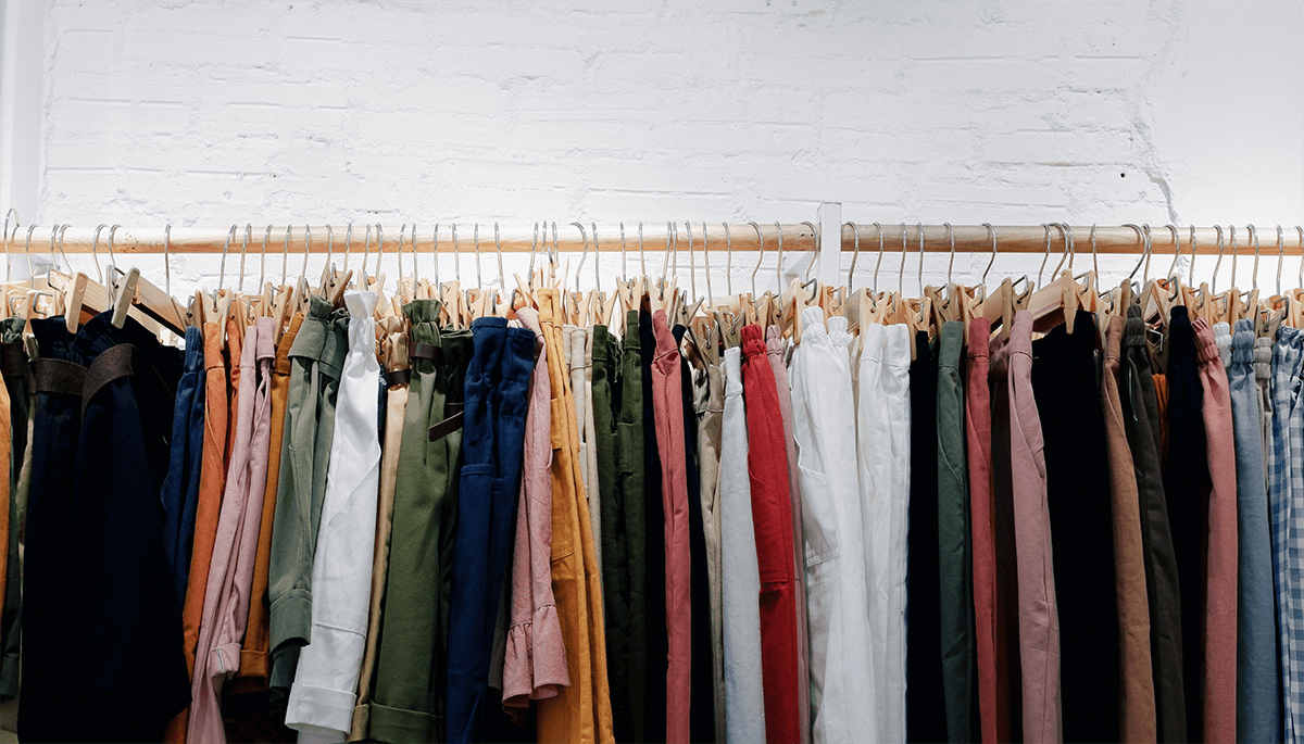 Image of a clothing rack full of clothes