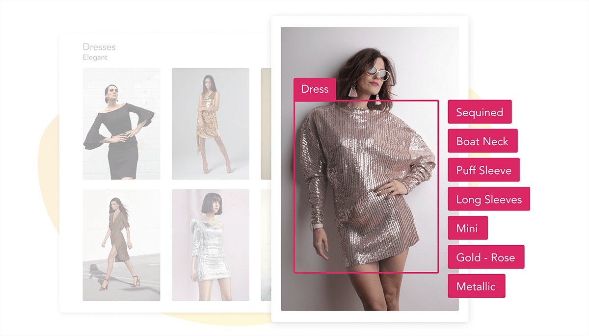 Automatically generated tags for a gold-rose mini dress with long sleeves and boat neck