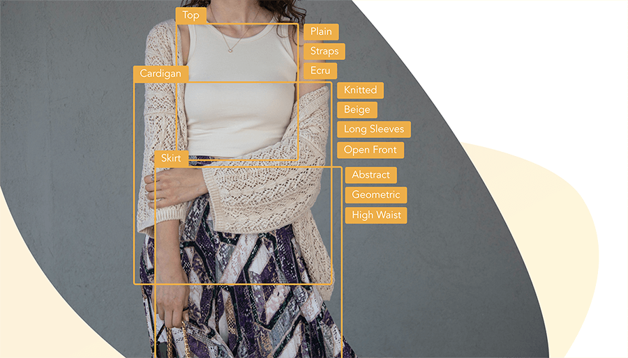 Automatically generated tags for an ecru top, knitted long sleeves cardigan, and abstract skirt