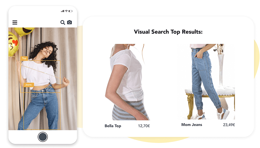 Process of visual search in three steps: image upload, image analysis, visual search top results