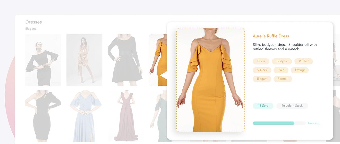 Online store showing an elegant, orange dress with a v neck