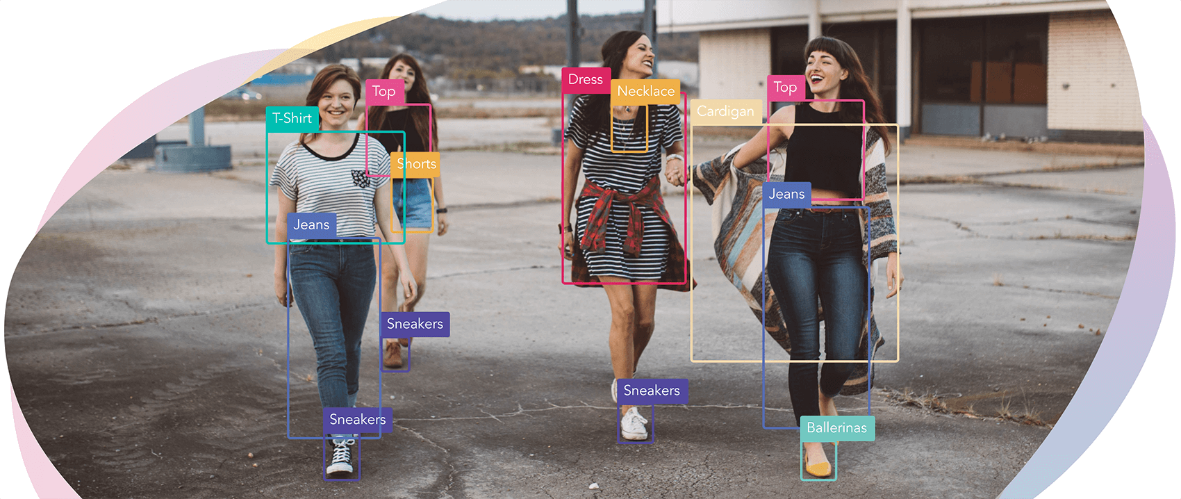 Automated tags for each fashion item a group of girls are wearing