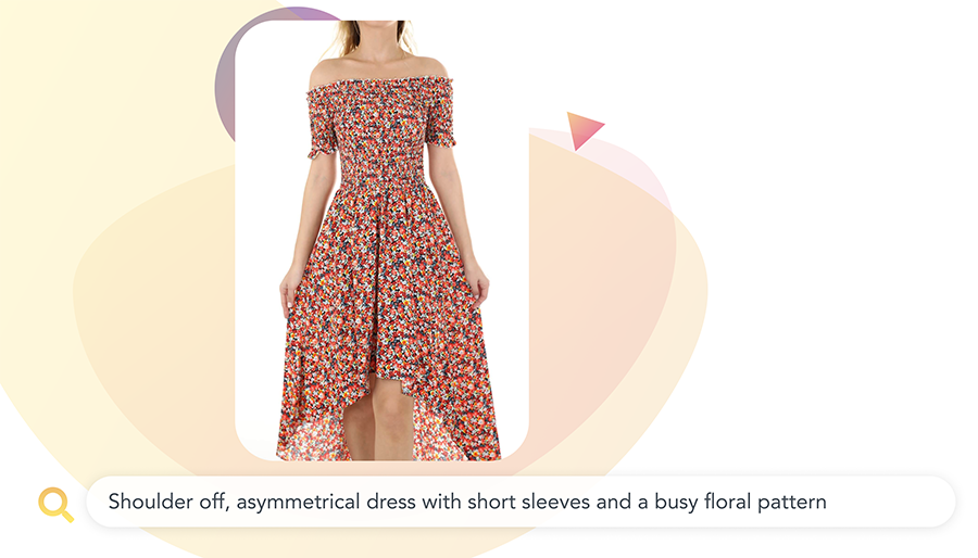 Searching for an asymmetrical dress with short sleeves and floral pattern