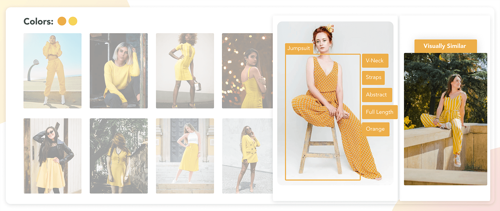 Visually similar recommendation and automated tags for an orange jumpsuit