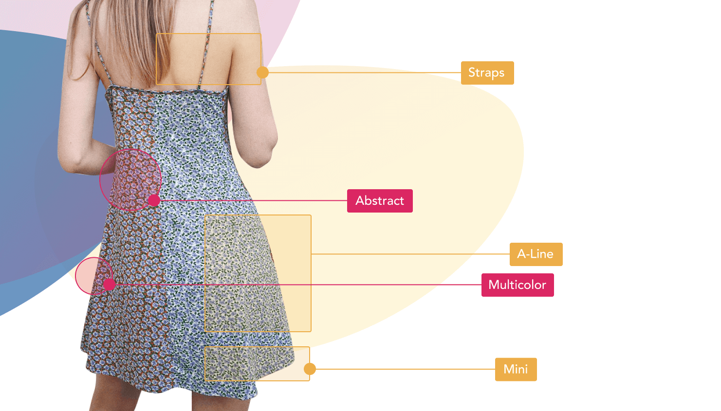 Abstract, multicolor mini dress