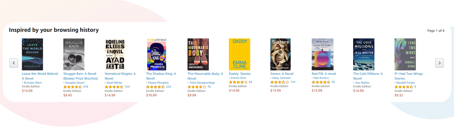 Amazon recommendations inspired by browsing history