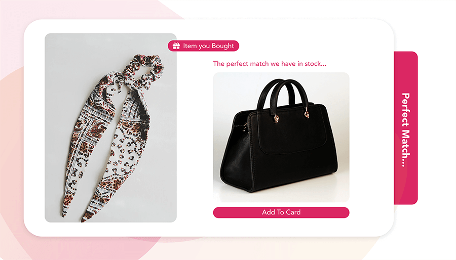 Image of bought hair accessories with automated style suggestion for a bag